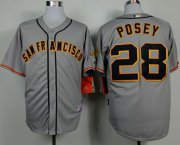 Wholesale Giants #28 Buster Posey Grey Road Cool Base Stitched Baseball Jersey