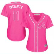 Wholesale Cheap Braves #11 Ender Inciarte Pink Fashion Women's Stitched MLB Jersey