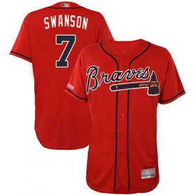Wholesale Cheap Braves #7 Dansby Swanson Red Flexbase Authentic Collection Stitched MLB Jersey