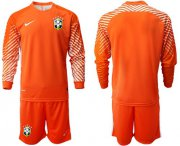 Wholesale Cheap Brazil Blank Orange Goalkeeper Long Sleeves Soccer Country Jersey