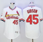 Wholesale Cheap Cardinals #45 Bob Gibson White Flexbase Authentic Collection Cooperstown Stitched MLB Jersey