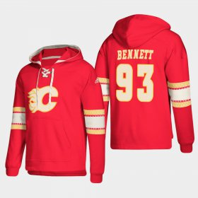 Wholesale Cheap Calgary Flames #93 Sam Bennett Red adidas Lace-Up Pullover Hoodie