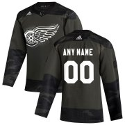 Wholesale Cheap Detroit Red Wings Adidas 2019 Veterans Day Authentic Custom Practice NHL Jersey Camo