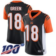 Wholesale Cheap Nike Bengals #18 A.J. Green Black Team Color Men's Stitched NFL 100th Season Vapor Limited Jersey