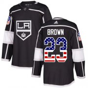 Wholesale Cheap Adidas Kings #23 Dustin Brown Black Home Authentic USA Flag Stitched Youth NHL Jersey