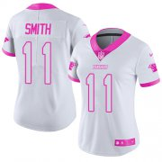 Wholesale Cheap Nike Panthers #11 Torrey Smith White/Pink Women's Stitched NFL Limited Rush Fashion Jersey