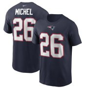 Wholesale Cheap New England Patriots #26 Sony Michel Nike Team Player Name & Number T-Shirt Navy