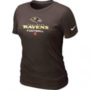 Wholesale Cheap Women's Nike Baltimore Ravens Critical Victory NFL T-Shirt Brown