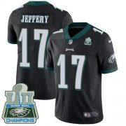 Wholesale Cheap Nike Eagles #17 Alshon Jeffery Black Alternate Super Bowl LII Champions Men's Stitched NFL Vapor Untouchable Limited Jersey