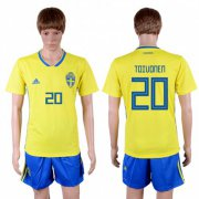 Wholesale Cheap Sweden #20 Toivonen Home Soccer Country Jersey