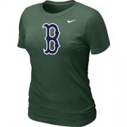 Wholesale Cheap Women's MLB Boston Red Sox Heathered Nike Blended T-Shirt Dark Green