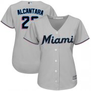 Wholesale Cheap Marlins #22 Sandy Alcantara Grey Road Women's Stitched MLB Jersey