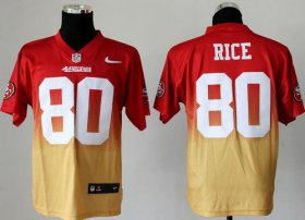 Wholesale Cheap Nike 49ers #80 Jerry Rice Red/Gold Men\'s Stitched NFL Elite Fadeaway Fashion Jersey