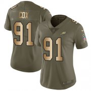 Wholesale Cheap Nike Eagles #91 Fletcher Cox Olive/Gold Women's Stitched NFL Limited 2017 Salute to Service Jersey