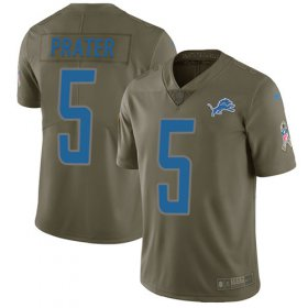 Wholesale Cheap Nike Lions #5 Matt Prater Olive Youth Stitched NFL Limited 2017 Salute to Service Jersey