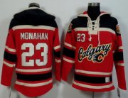 Wholesale Flames #23 Sean Monahan Red/Black Sawyer Hooded Sweatshirt Stitched NHL Jersey