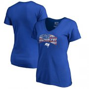 Wholesale Cheap Women's Tampa Bay Buccaneers NFL Pro Line by Fanatics Branded Royal Banner Wave V-Neck T-Shirt