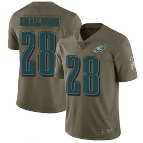 Wholesale Cheap Nike Eagles #28 Wendell Smallwood Olive Men\'s Stitched NFL Limited 2017 Salute To Service Jersey