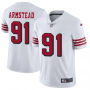 Wholesale Cheap Nike 49ers #91 Arik Armstead White Rush Men's Stitched NFL Vapor Untouchable Limited Jersey
