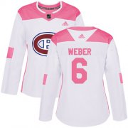 Wholesale Cheap Adidas Canadiens #6 Shea Weber White/Pink Authentic Fashion Women's Stitched NHL Jersey