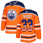 Wholesale Cheap Adidas Oilers #33 Cam Talbot Orange Home Authentic USA Flag Stitched NHL Jersey
