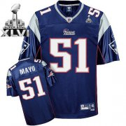 Wholesale Cheap Patriots #51 Jerod Mayo Dark Blue Super Bowl XLVI Embroidered NFL Jersey