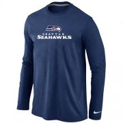Wholesale Cheap Nike Seattle Seahawks Authentic Logo Long Sleeve T-Shirt Dark Blue