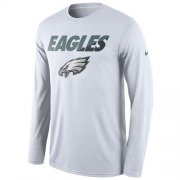 Wholesale Cheap Men's Philadelphia Eagles Nike White Legend Staff Practice Long Sleeves Performance T-Shirt