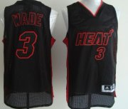 Wholesale Cheap Miami ami Heat #3 Dwyane Wade All Black With Red Swingman Jersey