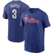 Wholesale Cheap Philadelphia Phillies #3 Bryce Harper Nike Name & Number T-Shirt Royal