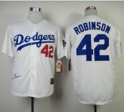 Wholesale Cheap Mitchell And Ness 1955 Dodgers #42 Jackie Robinson White Throwback Stitched MLB Jersey