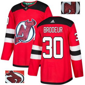Wholesale Cheap Adidas Devils #30 Martin Brodeur Red Home Authentic Fashion Gold Stitched NHL Jersey