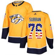 Wholesale Cheap Adidas Predators #76 P.K Subban Yellow Home Authentic USA Flag Stitched Youth NHL Jersey