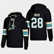 Wholesale Cheap San Jose Sharks #28 Timo Meier Black adidas Lace-Up Pullover Hoodie
