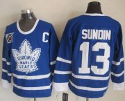 Wholesale Cheap Maple Leafs #13 Mats Sundin Blue 75th CCM Throwback Stitched NHL Jersey