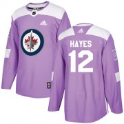 Wholesale Cheap Adidas Jets #12 Kevin Hayes Purple Authentic Fights Cancer Stitched NHL Jersey