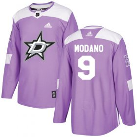 Wholesale Cheap Adidas Stars #9 Mike Modano Purple Authentic Fights Cancer Stitched NHL Jersey