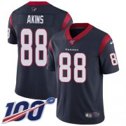 Wholesale Cheap Nike Texans #88 Jordan Akins Navy Blue Team Color Youth Stitched NFL 100th Season Vapor Untouchable Limited Jersey
