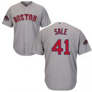 Wholesale Cheap Red Sox #41 Chris Sale Grey New Cool Base 2018 World Series Stitched MLB Jersey