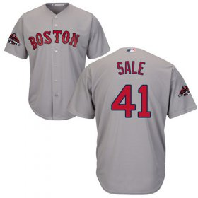 Wholesale Cheap Red Sox #41 Chris Sale Grey New Cool Base 2018 World Series Champions Stitched MLB Jersey
