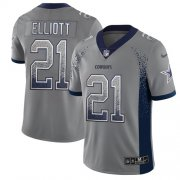 Wholesale Cheap Nike Cowboys #21 Ezekiel Elliott Gray Men's Stitched NFL Limited Rush Drift Fashion Jersey