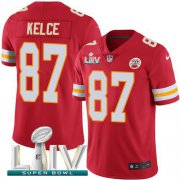 Wholesale Cheap Nike Chiefs #87 Travis Kelce Red Super Bowl LIV 2020 Team Color Youth Stitched NFL Vapor Untouchable Limited Jersey