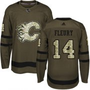 Wholesale Cheap Adidas Flames #14 Theoren Fleury Green Salute to Service Stitched Youth NHL Jersey