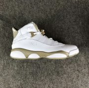 Wholesale Cheap Womens Air Jordan 6 Rings Shoes White/Khaki-Blue