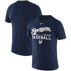 Wholesale Cheap Milwaukee Brewers Nike Wordmark Practice Performance T-Shirt Navy