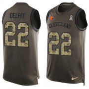 Wholesale Cheap Nike Browns #22 Grant Delpit Green Men's Stitched NFL Limited Salute To Service Tank Top Jersey