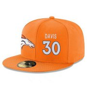 Wholesale Cheap Denver Broncos #30 Terrell Davis Snapback Cap NFL Player Orange with White Number Stitched Hat