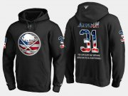 Wholesale Cheap Sabres #31 Chad Johnson NHL Banner Wave Usa Flag Black Hoodie
