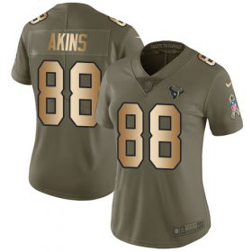 Wholesale Cheap Nike Texans #88 Jordan Akins Olive/Gold Women\'s Stitched NFL Limited 2017 Salute To Service Jersey