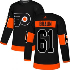 Wholesale Cheap Adidas Flyers #61 Justin Braun Black Alternate Authentic Stitched Youth NHL Jersey